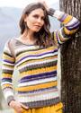 Пуловер с полосками и регланными вставками. Спицы