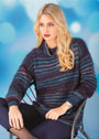 Теплый полосатый пуловер из секционно окрашенной и однотонной пряжи. Спицы