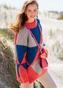 Шерстяной пуловер с яркими крупными треугольниками. Спицы