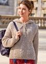 Теплый пуловер из патентной резинки с косами. Спицы