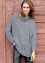 Свободный пуловер с узкими рукавами и отделкой ребристым узором. Спицы