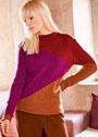 Теплый трехцветный пуловер простой вязки. Спицы