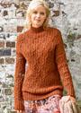 Теплый пуловер с ромбовидным узором из кос. Спицы