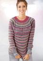 Полосатый пуловер с круглой кокеткой. Спицы