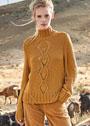 Шерстяной пуловер с центральной полосой из ромбов. Спицы
