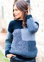 Пуловер в стиле пэчворк с жемчужным узором. Спицы