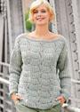 Шерстяной пуловер с веерным узором. Спицы