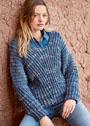 Повседневный пуловер, связанный резинкой. Спицы