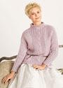 Сиреневый пуловер с центральной косой. Спицы