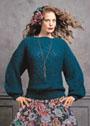 Зеленый мохеровый пуловер с ажурными ромбами. Спицы