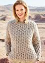Ажурный теплый пуловер из толстой пряжи. Спицы