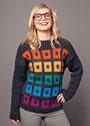 Теплый пуловер с жаккардовым клетчатым узором. Спицы