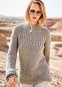 Лаконичный пуловер с рукавами, связанными поперек. Спицы