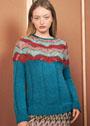Пуловер с круглой узорчатой кокеткой. Спицы