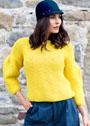 Желтый теплый пуловер с присборенными рукавами. Спицы
