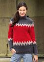 Жаккардовый пуловер с зигзагами и круглой кокеткой. Спицы