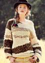 Пуловер с рельефными узорами, из пряжи разной фактуры. Спицы