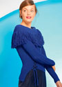 Синий пуловер с бахромой и декоративной шнуровкой. Спицы