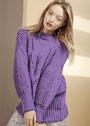 Пуловер оверсайз с широким рельефным узором. Спицы