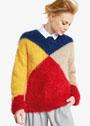 Яркий пуловер в стиле колор-блок. Спицы