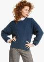 Синий теплый пуловер с узором из кос. Спицы