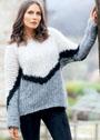 Трехцветный пуловер крупной вязки. Спицы