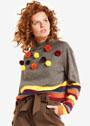 Пуловер с полосками и пушистыми помпонами. Спицы