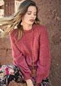 Мохеровый пуловер-реглан в красных тонах. Спицы