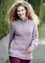 Розовый теплый пуловер с косами. Спицы