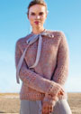 Мохеровый пуловер с вставками из ажурных полос. Спицы