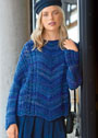 Пуловер оверсайз в синих тонах. Спицы