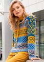 Теплый пуловер с жаккардовыми узорами. Спицы