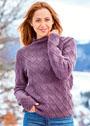 Шерстяной пуловер с рельефным узором из ромбов. Спицы