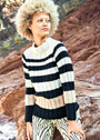 Трехцветный пуловер в полоску. Спицы