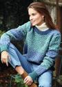 Жаккардовый пуловер в сине-зеленых тонах. Спицы