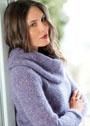 Сиреневый пуловер с большим съемным воротником. Спицы
