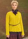 Ажурный пуловер привлекательного горчичного оттенка. Спицы