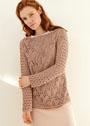 Пуловер с ажурным узором и дырочками. Спицы