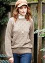 Бежевый пуловер с орнаментальным декором. Спицы