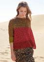 Мохерово-льняной пуловер с узором из спущенных петель. Спицы