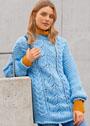 Голубой пуловер крупной вязки, с миксом узоров. Спицы