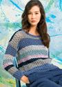 Повседневный сетчатый пуловер в полоску. Спицы