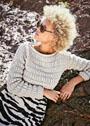 Короткий рельефный пуловер с поперечными полосками. Спицы