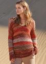 Разноцветный пуловер с узором Звездочки. Спицы
