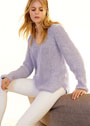Сиреневый пуловер объемной вязки патентным узором. Спицы