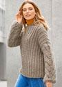 Серо-бежевый пуловер крупной вязки. Спицы