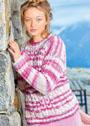 Розово-сиреневый пуловер с сочетанием узоров. Спицы