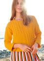 Желтый пуловер с миксом узоров. Спицы