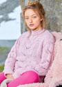 Розовый пуловер с ажурными листьями. Спицы