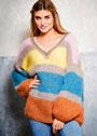 Просторный мохеровый пуловер с широкими цветными полосами. Спицы
